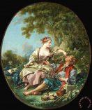 Les Sabots Painting by Francois Boucher; Les Sabots Art Print for sale