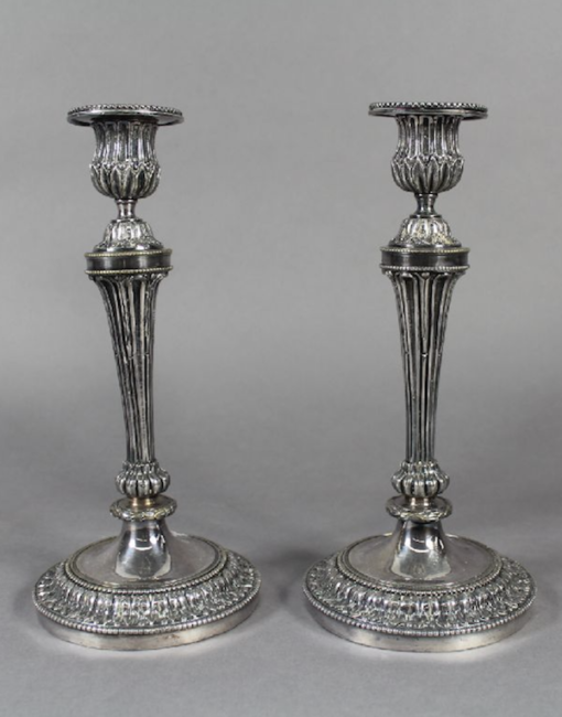 Pair silvered Louis XVI