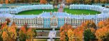 Aerial view of Catherine Palace at  Tsarskoye Selo in St Petersburg, Russia