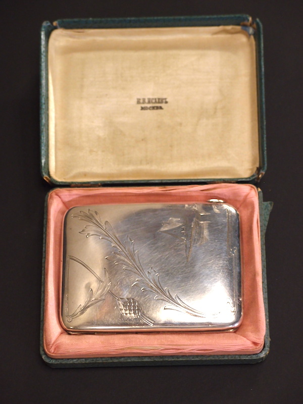 1908-1917 Imperial Russian Silver Cigarette Case Original Box - Roys  Antiques